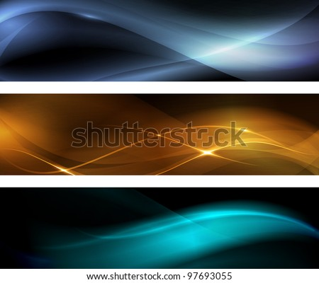 Horizontal banner set. Wavy patterns on dark background with light effects. - stock photo