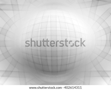 Horizontal black and white 3d sphere abstract illustration background
