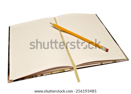 Horizontal blank journal with pencil and ribbon marker - stock photo