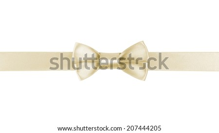 horizontal border with champagne color ribbon bow, isolated on white