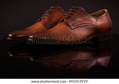 Horizontal brown shoes , leather material , made in Cluj-Napoca Romania , 29.09.2016