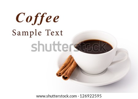 Horizontal card with text and white cup of coffee with cinnamon - stock photo