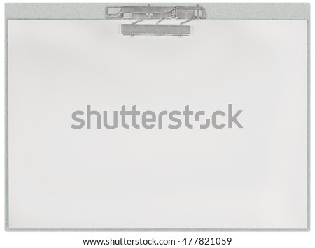 Horizontal clipboard, blank empty isolated white paper file copy space sheet texture background, large detailed closeup, communication concept metaphor