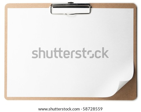 Horizontal clipboard with blank paper and curled corner. - stock photo