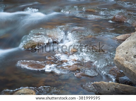 horizontal color image close up, taken with very slow shutter speed, to show water flowing around rocks in a creek / Flowing water in Winter with ice formations