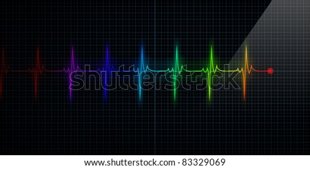 Horizontal Colorful Pulse Trace Heart Monitor - stock photo