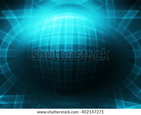 Horizontal cyan 3d sphere abstract illustration background