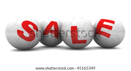 Horizontal 3D render of four white soccer balls that make up the word SALE. Each ball has an individual letter on it. See more SALE images in my portfolio.