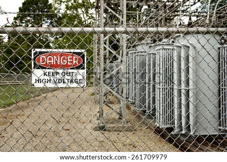 Horizontal Danger, High Voltage, Keep Out Sign - stock photo