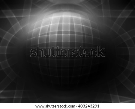 Horizontal dark 3d sphere abstract illustration background
