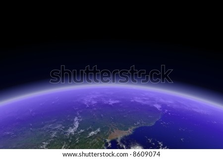 Horizontal Earth with visible cloud shadows. Render - stock photo