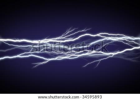 Horizontal field of lightning/electricity/energy. - stock photo