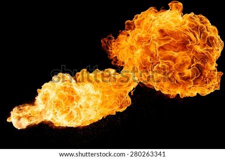 horizontal fireball isolated on a black background - stock photo