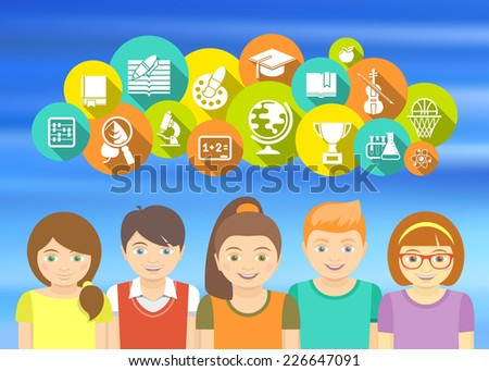Horizontal flat colorful illustration with a group of excited kids who are happy to study. Educational icons and concepts on a blurred background. - stock photo