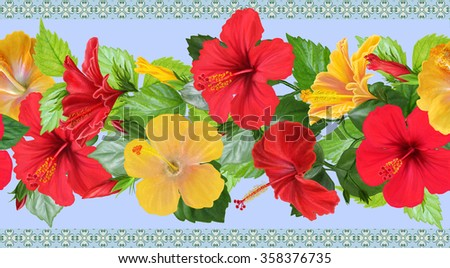 horizontal floral border red, yellow rose, hibiscus, green leaves, pattern, seamless  - stock photo
