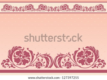 Horizontal floral frame in pink and beige colors - stock photo