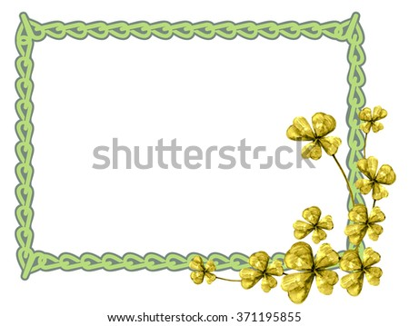 Horizontal frame with a golden clover - stock photo