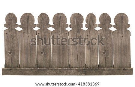 horizontal front view of a wooden fence isolated on white background - stock photo