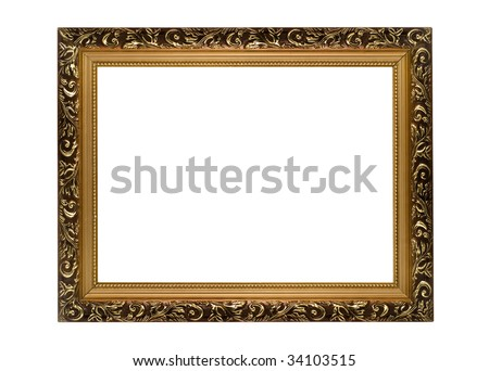 Horizontal golden Frame for picture or portrait isolated - stock photo