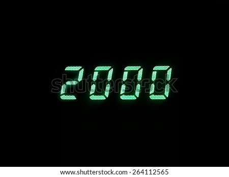Horizontal green digital 2000 millenium display clock memories background backdrop