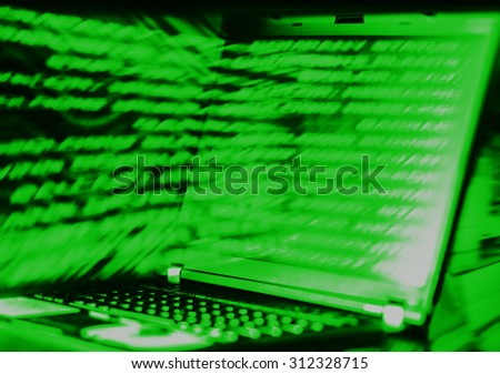 Horizontal green scanline futuristic laptop data abstract background