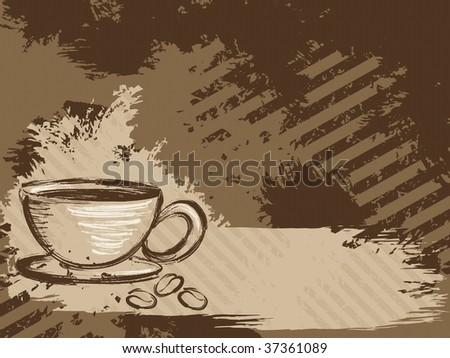Horizontal grungy coffee background (JPG); a vector version is also available - stock photo