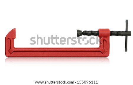 horizontal hand vise c-clamp for industrial use.  (with clipping work path) - stock photo