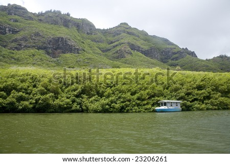 Horizontal Iamge Small Houseboat On Calm Stock Photo 23206261