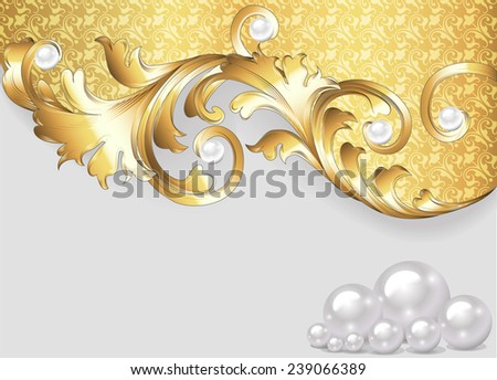 horizontal illustration background with gold ornaments and pearls - stock photo