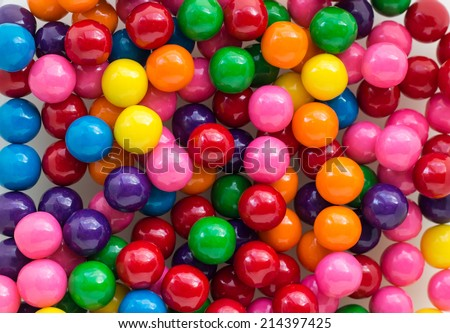 horizontal image of a background shot of colourful  array of bubble gum filling the whole composition - stock photo