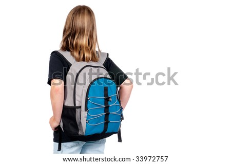 Horizontal image of a school girl with a backpack going back to school - stock photo