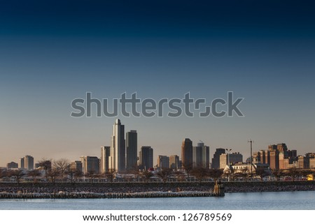 Horizontal image of building in Chicago Illinois over the lake - stock photo