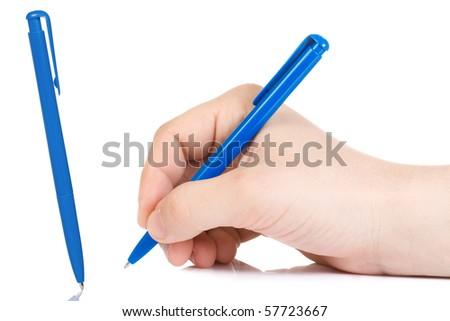 horizontal image of hand holding plastic pen - stock photo