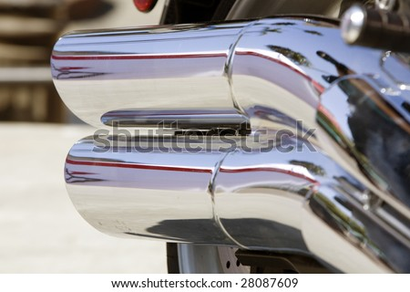 Horizontal image of the details of a motorcycle. - stock photo