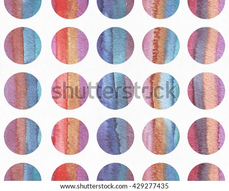 Horizontal large illustration with watercolor vertical stripes in seamless abstract background, based on circles texture. Vivid colors, grainy texture, hand drawn with bright colors and wet brush.