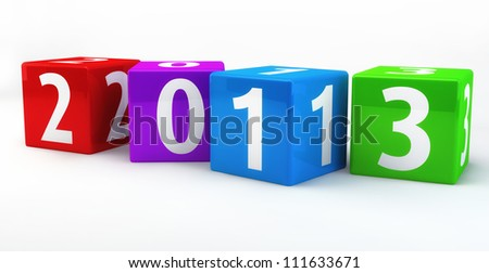 Horizontal Located Numbered Boxes showing the new year of 2013, isolated on white background - stock photo