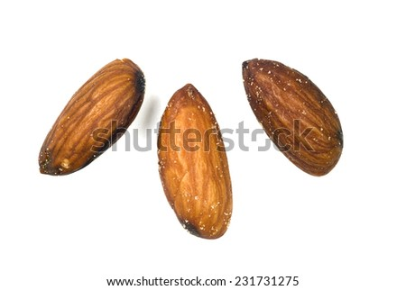 Horizontal Macro Shot Of Salted Almonds Isolated On White/ Healthy Nuts To Eat