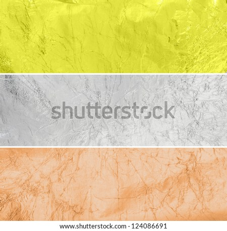 Horizontal metal surface in bronze, silver and gold style - stock photo