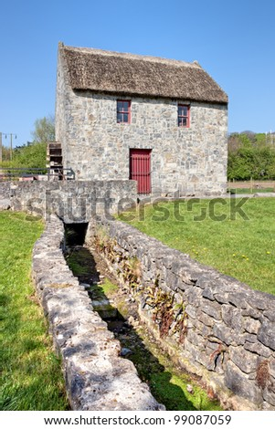 Horizontal Mill in Bunratty Folk Park - Ireland. - stock photo
