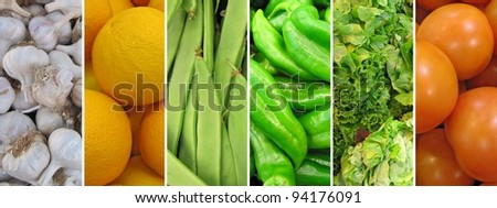 Horizontal mosaic of vegetables. - stock photo