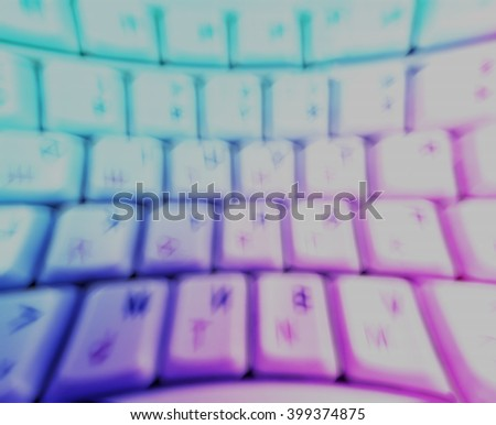 Horizontal  motion blur curved interlaced keyboard background