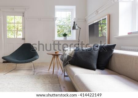 Horizontal of luxury neutral interior designed living room - stock photo