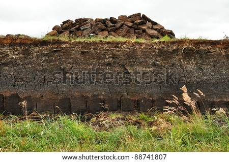 horizontal of Peat digging on harris, Scotland - stock photo