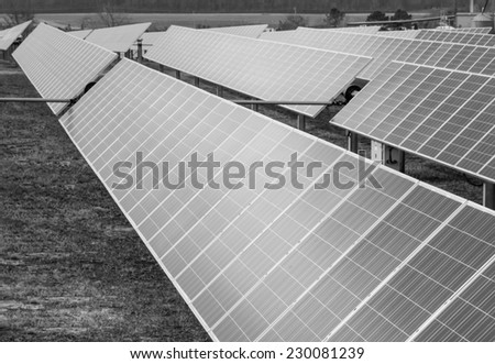 horizontal orientation black and white of solar panels stretched out in a field, with copy space / Solar Panels Black and White - stock photo