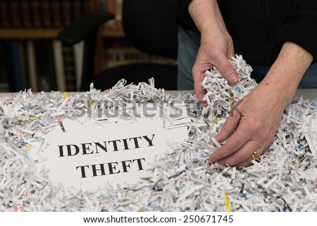 horizontal orientation close up of a woman's hands gathering shredded paper to recycle with the words IDENTITY THEFT shown / Destroying files                                                  / - stock photo