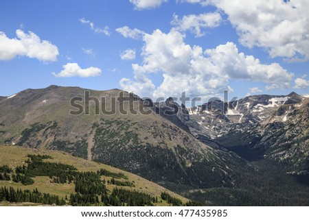horizontal orientation color image of the Colorado Rocky Mountains, at high elevation, in summer / Colorado Rocky Mountains in Summer