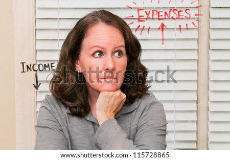 horizontal orientation of a caucasian woman with a concerned look thinking about income and expenses with those words spelled out/Why Women Worry - stock photo