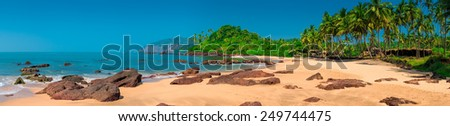 horizontal panorama with a gorgeous view of the tropical island - stock photo