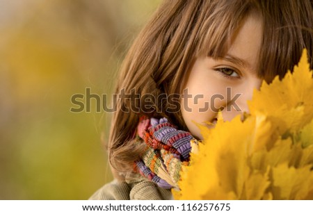 horizontal photo,  beautiful little girl hold many yellow leaf, autumnal portrait - stock photo