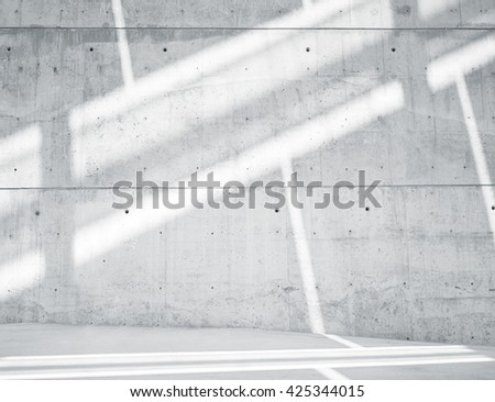 Horizontal Photo Blank Grungy and Smooth Bare Concrete Wall with White Sunrays Reflecting on Light Surface. Empty Abstract background.  - stock photo